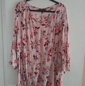 Boho pink and floral blouse